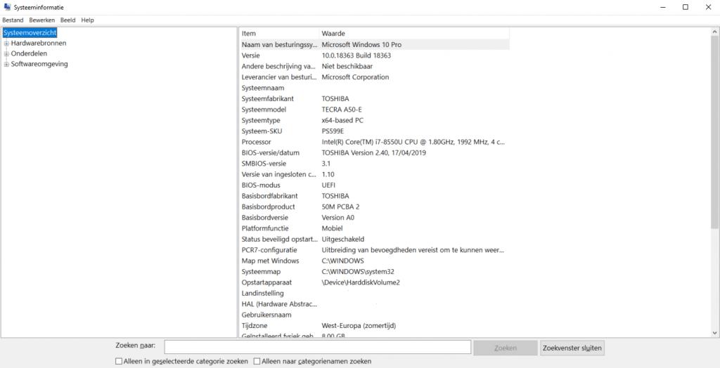 windows-10-systeeminformatie